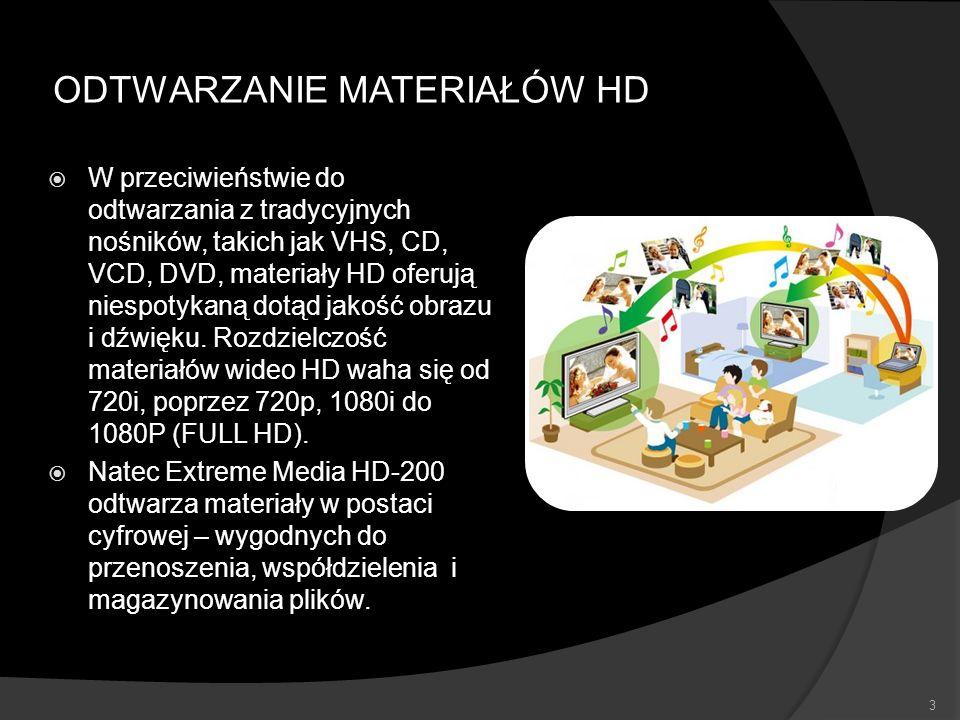 FUNKCJE CENTRUM MULTIMEDIALNEGO FULL HD PLAYBACK – odtwarzanie filmów w rozdzielczości 1080P NAS – funkcjonalność prostego dysku sieciowego dzięki wykorzystaniu protokołu SAMBA oraz wewnętrznego dysku twardego SATA 3,5 TV i RADIO INTERNETOWE – obsługa mediów strumieniowych nadawanych przez Internet FUNKCJE INTERNETOWE – YouTube, Picasa, Flicker, MediaFly, LastFM, Weather BIT TORRENT – wbudowany klient sieci Torrent 4