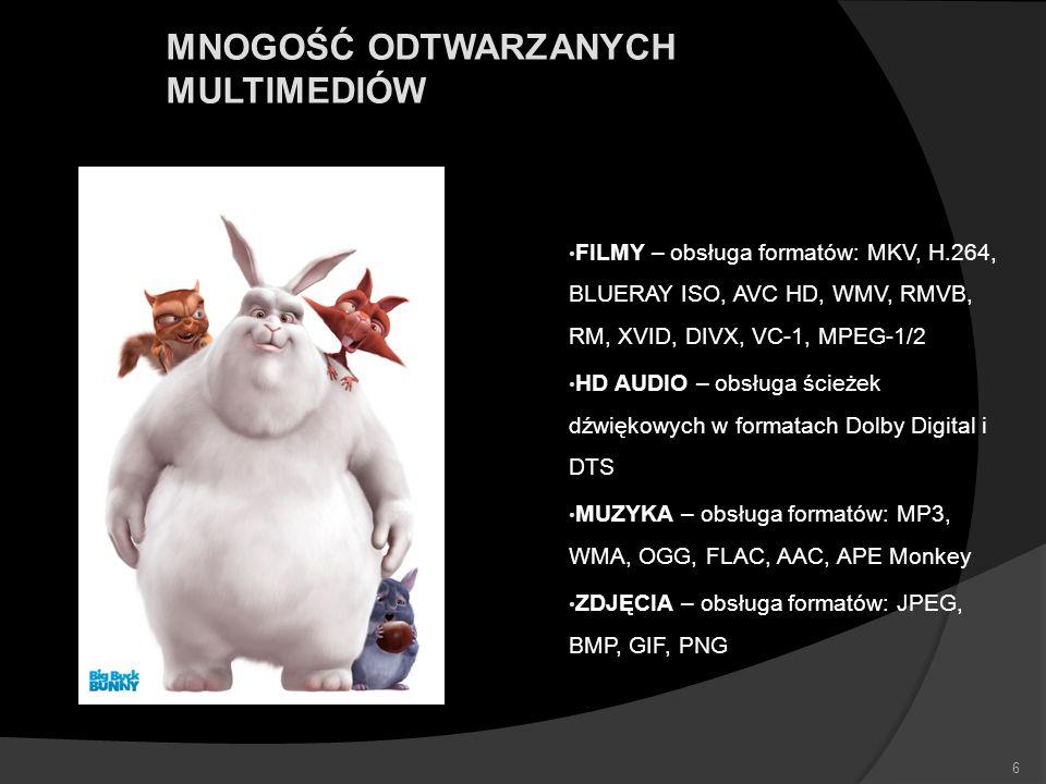 MNOGOŚĆ ODTWARZANYCH MULTIMEDIÓW FILMY – obsługa formatów: MKV, H.264, BLUERAY ISO, AVC HD, WMV, RMVB, RM, XVID, DIVX, VC-1, MPEG-1/2 HD AUDIO – obsłu