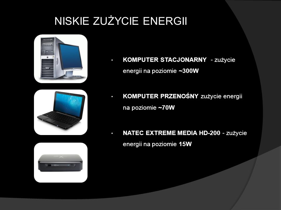 NISKIE ZUŻYCIE ENERGII KOMPUTER STACJONARNY - zużycie energii na poziomie ~300W KOMPUTER PRZENOŚNY zużycie energii na poziomie ~70W NATEC EXTREME MEDI