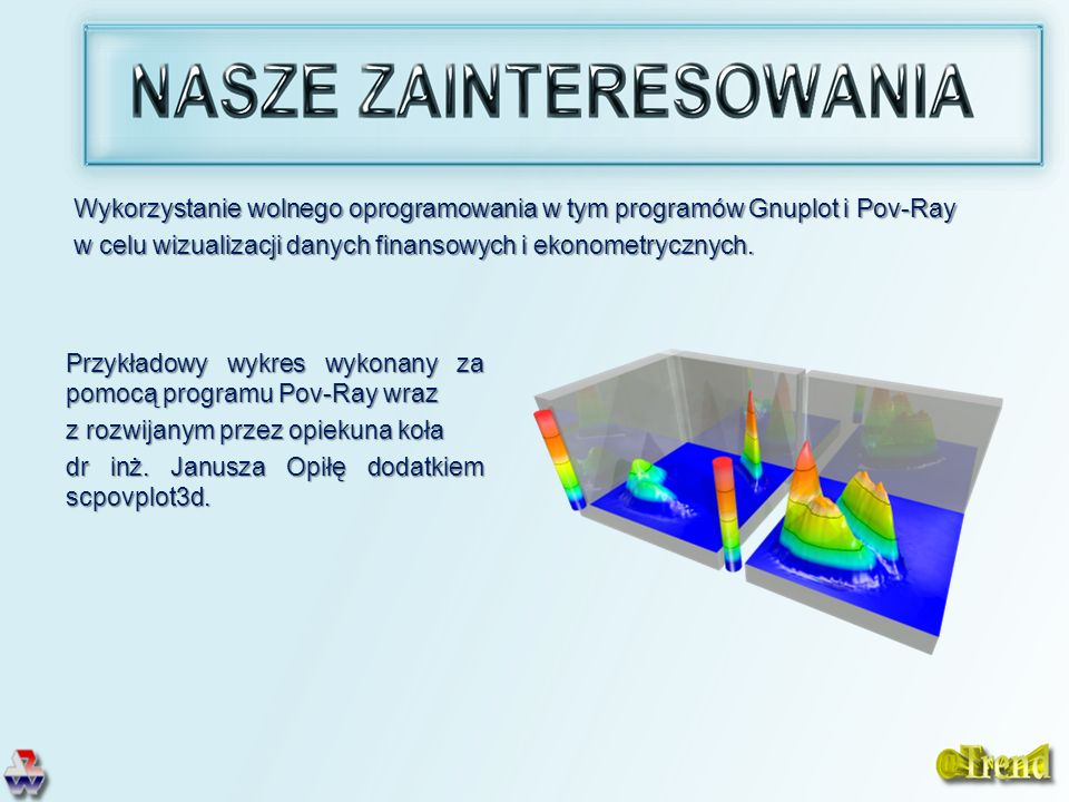 Przykładowy wykres wykonany za pomocą programu Pov-Ray wraz z rozwijanym przez opiekuna koła dr inż. Janusza Opiłę dodatkiem scpovplot3d. Wykorzystani