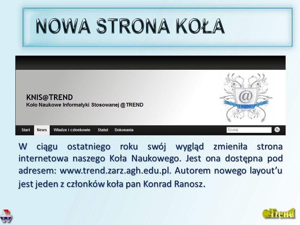 W ciągu ostatniego roku swój wygląd zmieniła strona internetowa naszego Koła Naukowego. Jest ona dostępna pod adresem: www.trend.zarz.agh.edu.pl. Auto