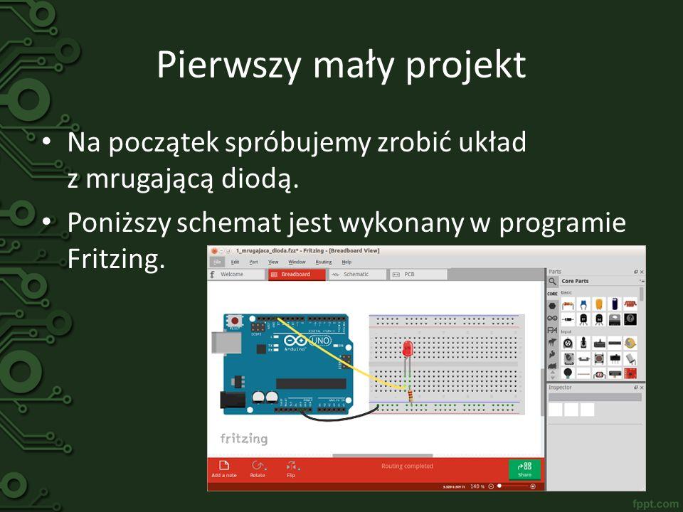 Pierwszy mały projekt Poniżej przedstawiono kod do programu z diodą: void setup(){ pinMode(13, OUTPUT); } void loop(){ digitalWrite(13, HIGH); delay(100); digitalWrite(13, LOW); delay(100); } Wojtek ma trudne zadanie – wytłumaczyć działanie kodu programu…