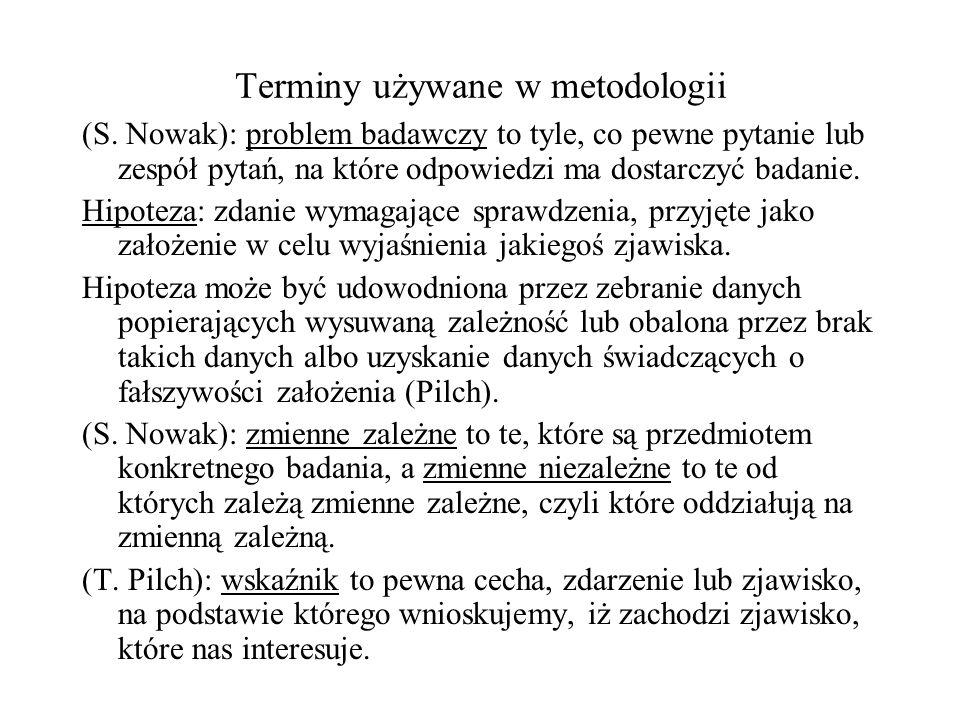 Terminy używane w metodologii (S. Nowak): problem badawczy to tyle, co pewne pytanie lub zespół pytań, na które odpowiedzi ma dostarczyć badanie. Hipo