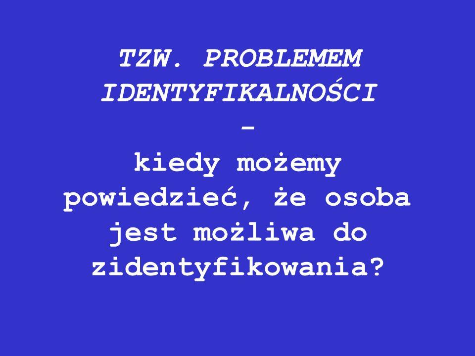 TZW. PROBLEMEM IDENTYFIKALNOŚCI - kiedy możemy powiedzieć, że osoba jest możliwa do zidentyfikowania?
