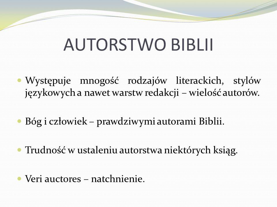 AUTORSTWO BIBLII Występuje mnogość rodzajów literackich, stylów językowych a nawet warstw redakcji – wielość autorów. Bóg i człowiek – prawdziwymi aut