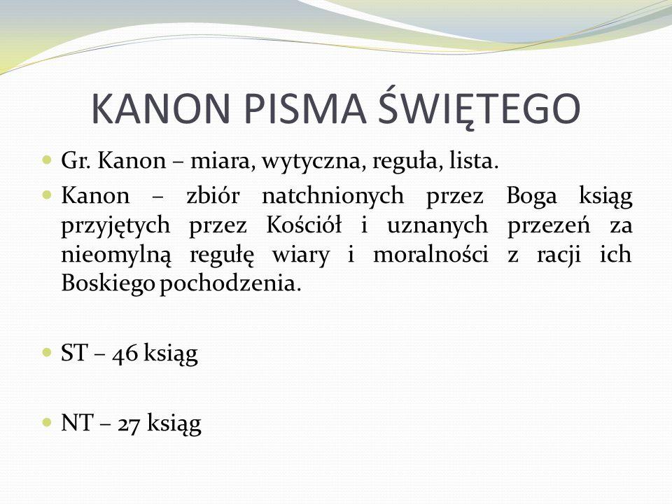 KANON PISMA ŚWIĘTEGO Gr. Kanon – miara, wytyczna, reguła, lista. Kanon – zbiór natchnionych przez Boga ksiąg przyjętych przez Kościół i uznanych przez