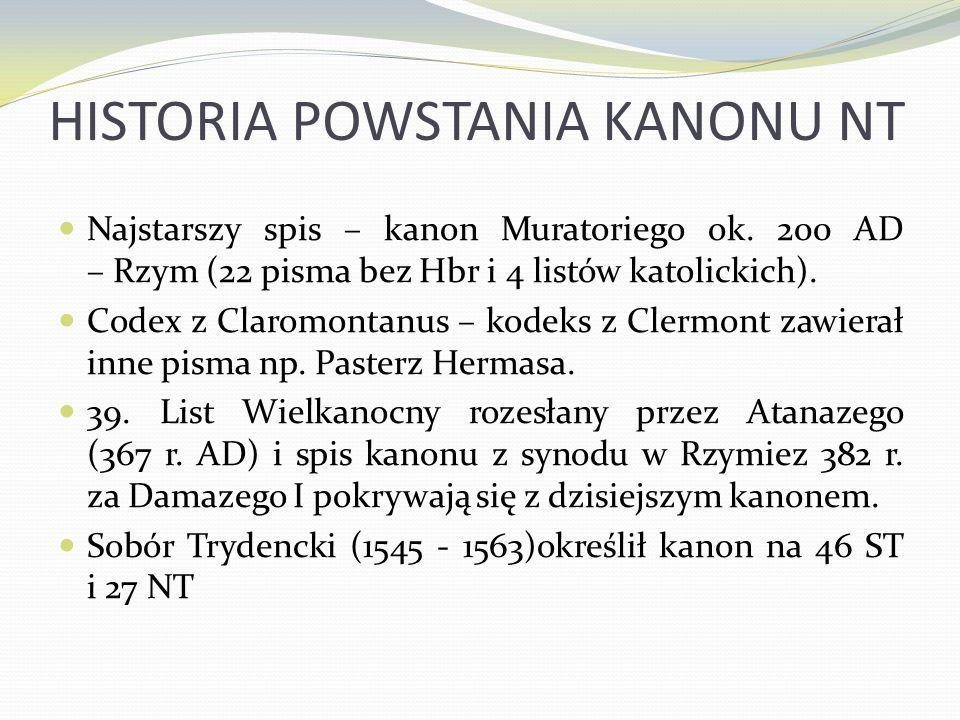 HISTORIA POWSTANIA KANONU NT Najstarszy spis – kanon Muratoriego ok. 200 AD – Rzym (22 pisma bez Hbr i 4 listów katolickich). Codex z Claromontanus –