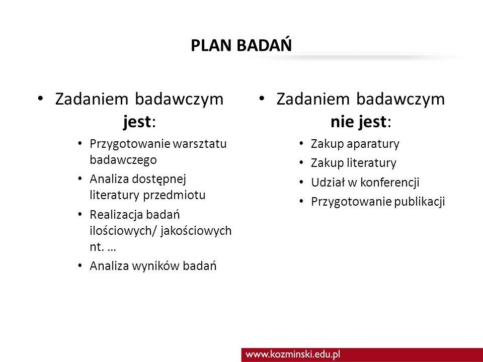 PLAN BADAŃ Zadaniem badawczym jest: Przygotowanie warsztatu badawczego Analiza dostępnej literatury przedmiotu Realizacja badań ilościowych/ jakościow