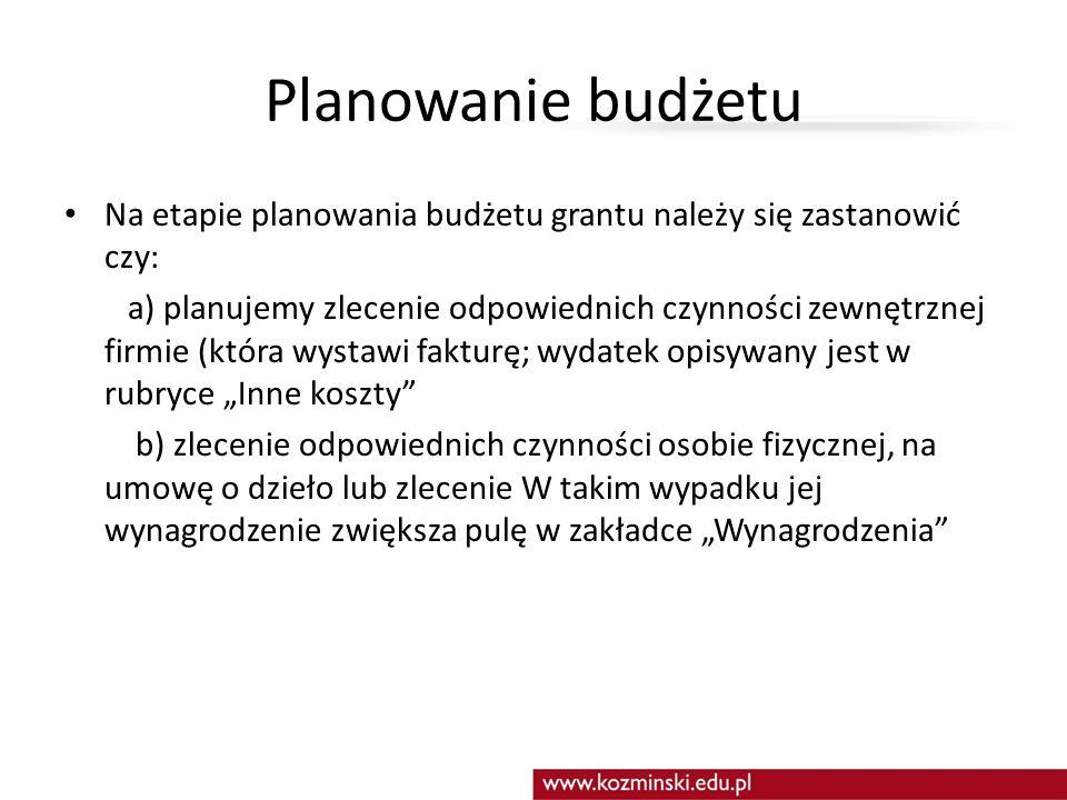 Planowanie budżetu Na etapie planowania budżetu grantu należy się zastanowić czy: a) planujemy zlecenie odpowiednich czynności zewnętrznej firmie (któ