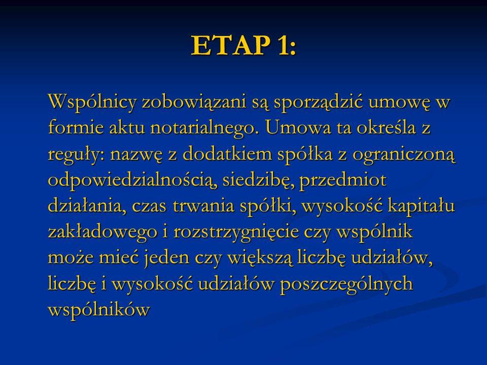 ETAP 1: Wspólnicy zobowiązani są sporządzić umowę w formie aktu notarialnego. Umowa ta określa z reguły: nazwę z dodatkiem spółka z ograniczoną odpowi