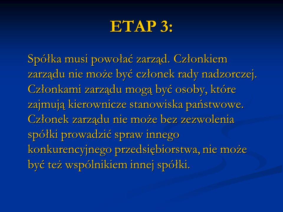 ETAP 3: Spółka musi powołać zarząd. Członkiem zarządu nie może być członek rady nadzorczej. Członkami zarządu mogą być osoby, które zajmują kierownicz
