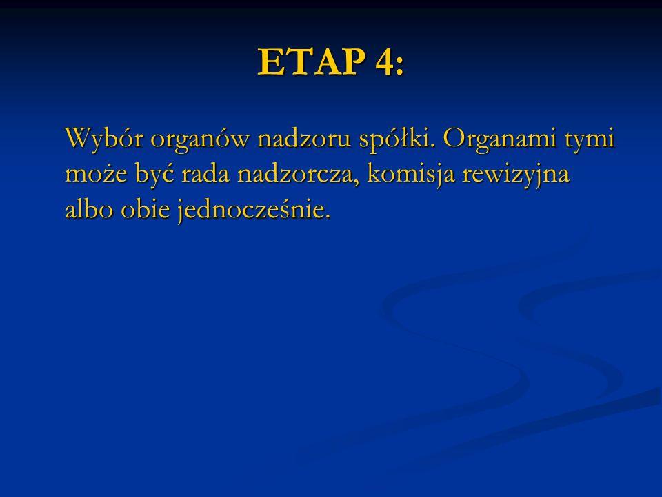 ETAP 4: Wybór organów nadzoru spółki. Organami tymi może być rada nadzorcza, komisja rewizyjna albo obie jednocześnie.