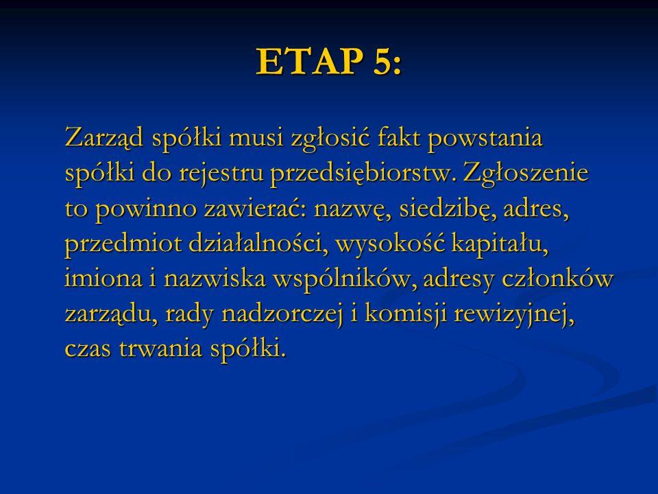 ETAP 5: Zarząd spółki musi zgłosić fakt powstania spółki do rejestru przedsiębiorstw. Zgłoszenie to powinno zawierać: nazwę, siedzibę, adres, przedmio