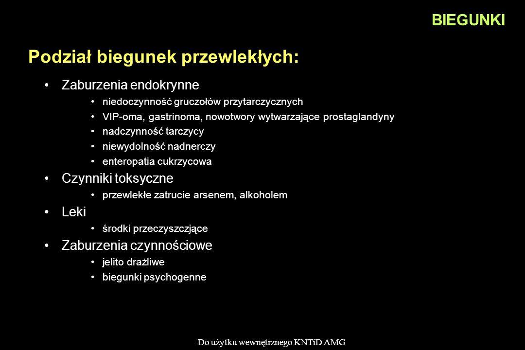 Do użytku wewnętrznego KNTiD AMG BIEGUNKI Podział biegunek przewlekłych: Zaburzenia endokrynne niedoczynność gruczołów przytarczycznych VIP-oma, gastr