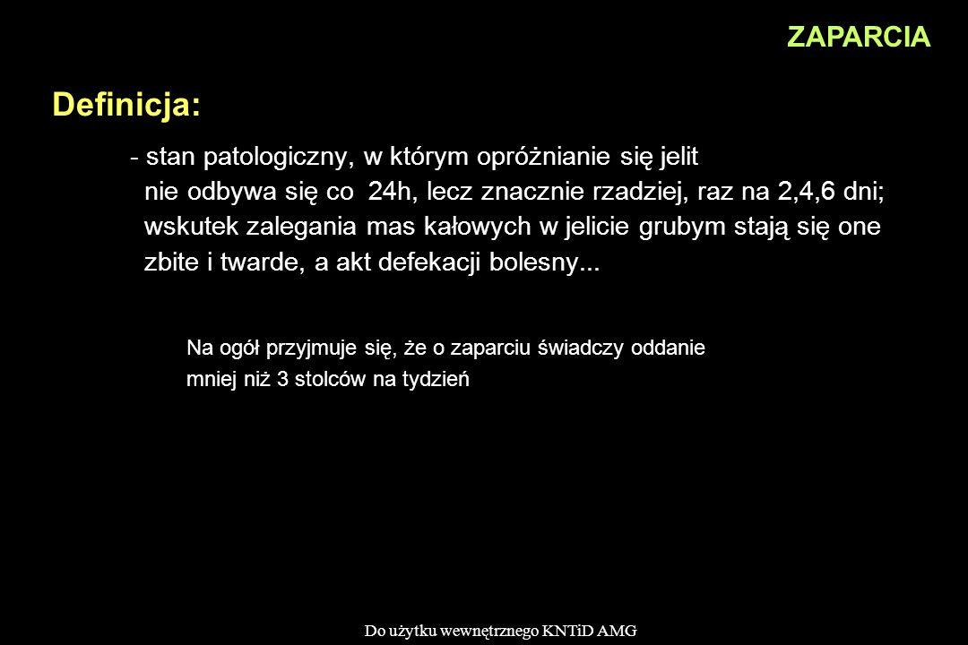 Do użytku wewnętrznego KNTiD AMG - stan patologiczny, w którym opróżnianie się jelit nie odbywa się co 24h, lecz znacznie rzadziej, raz na 2,4,6 dni;
