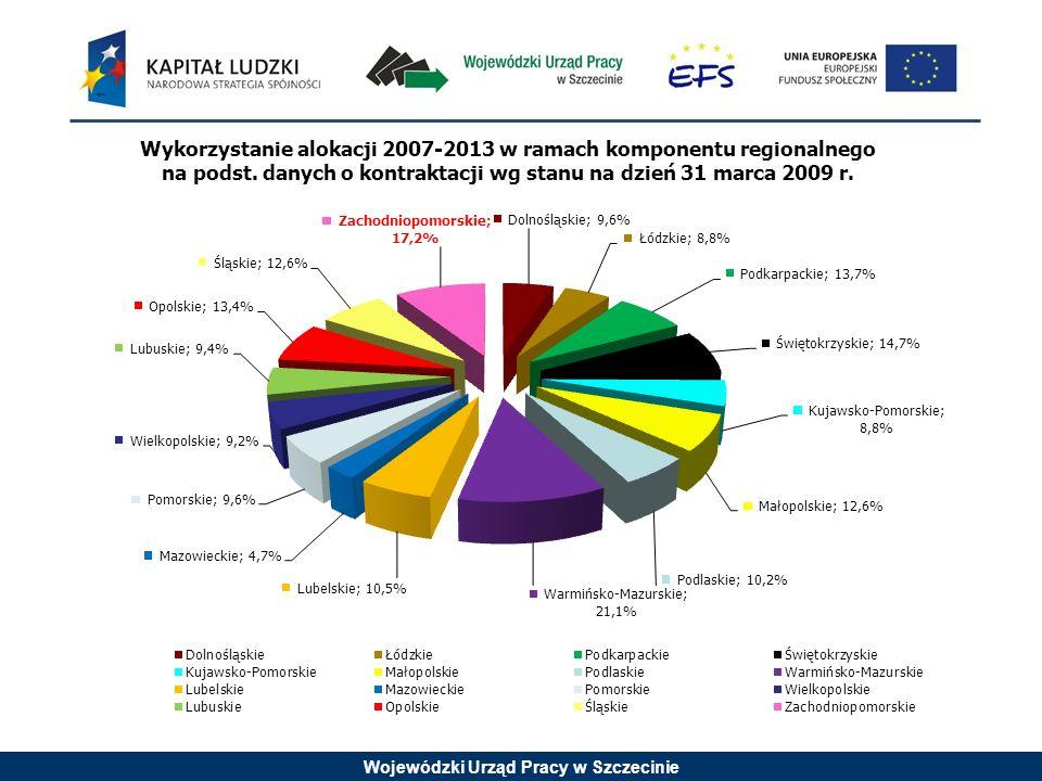 Wojewódzki Urząd Pracy w Szczecinie Wykorzystanie alokacji 2007-2013 w ramach komponentu regionalnego na podst.