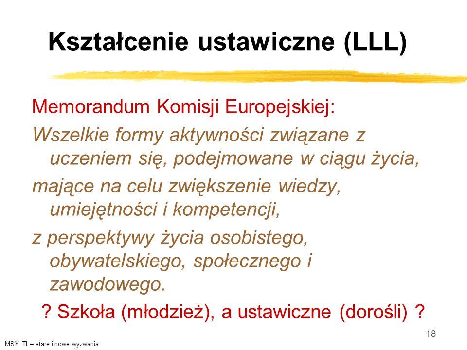 18 Kształcenie ustawiczne (LLL) Memorandum Komisji Europejskiej: Wszelkie formy aktywności związane z uczeniem się, podejmowane w ciągu życia, mające