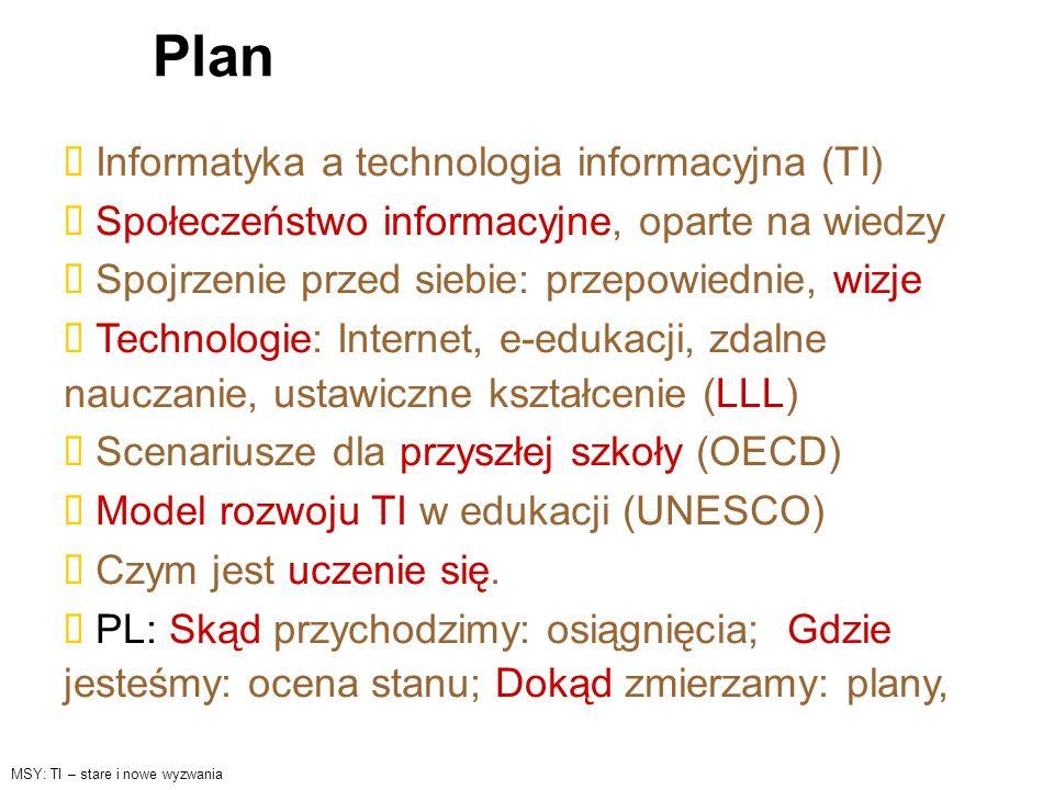 Plan Informatyka a technologia informacyjna (TI) Społeczeństwo informacyjne, oparte na wiedzy Spojrzenie przed siebie: przepowiednie, wizje Technologi
