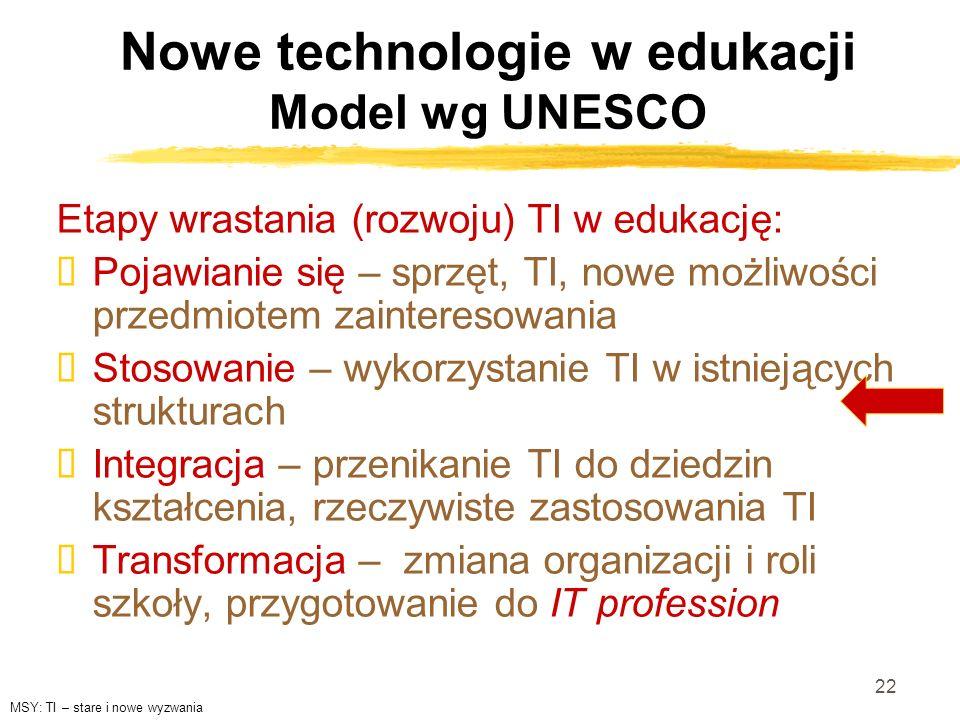 22 Nowe technologie w edukacji Model wg UNESCO Etapy wrastania (rozwoju) TI w edukację: Pojawianie się – sprzęt, TI, nowe możliwości przedmiotem zaint