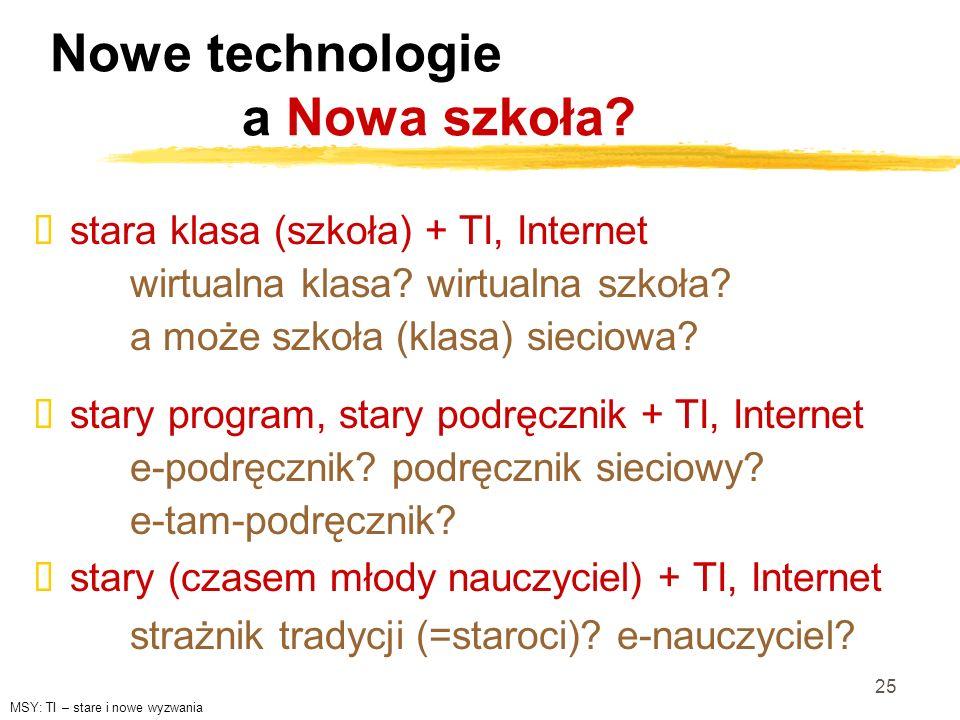 25 Nowe technologie a Nowa szkoła? stary program, stary podręcznik + TI, Internet e-podręcznik? podręcznik sieciowy? e-tam-podręcznik? stary (czasem m