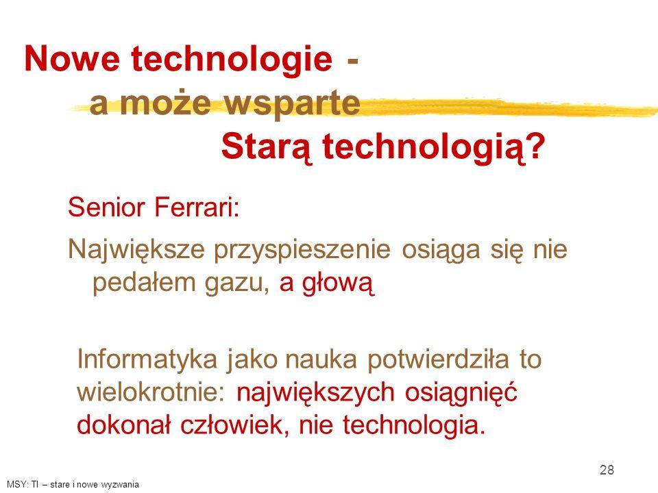 28 Nowe technologie - a może wsparte Starą technologią? Senior Ferrari: Największe przyspieszenie osiąga się nie pedałem gazu, a głową Informatyka jak