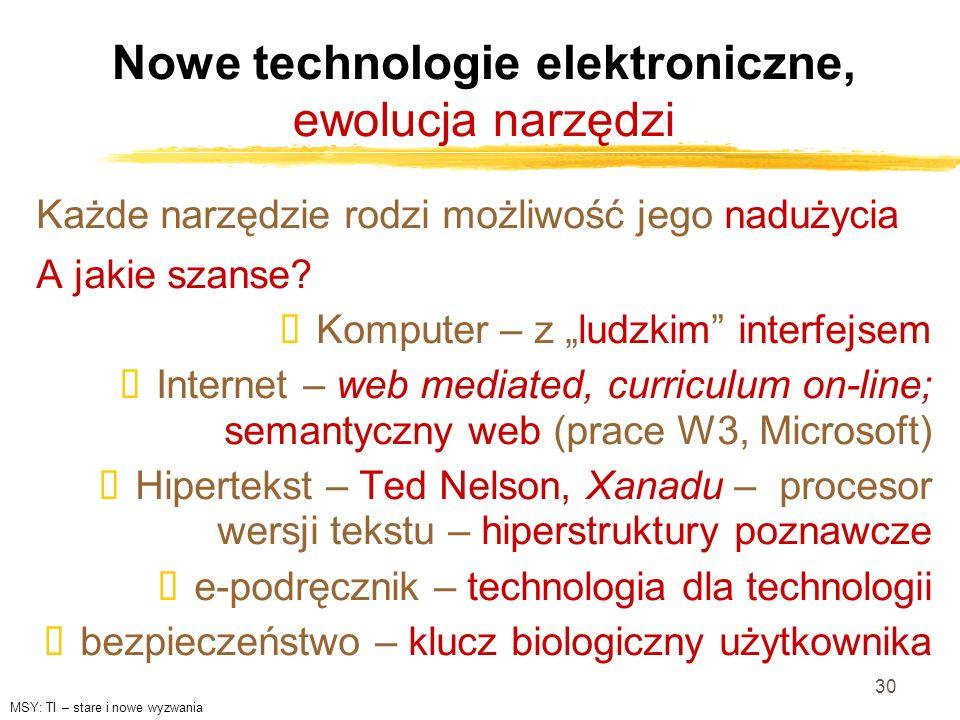 30 Nowe technologie elektroniczne, ewolucja narzędzi Każde narzędzie rodzi możliwość jego nadużycia A jakie szanse? Komputer – z ludzkim interfejsem I