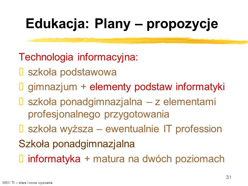 31 Edukacja: Plany – propozycje Technologia informacyjna: szkoła podstawowa gimnazjum + elementy podstaw informatyki szkoła ponadgimnazjalna – z eleme