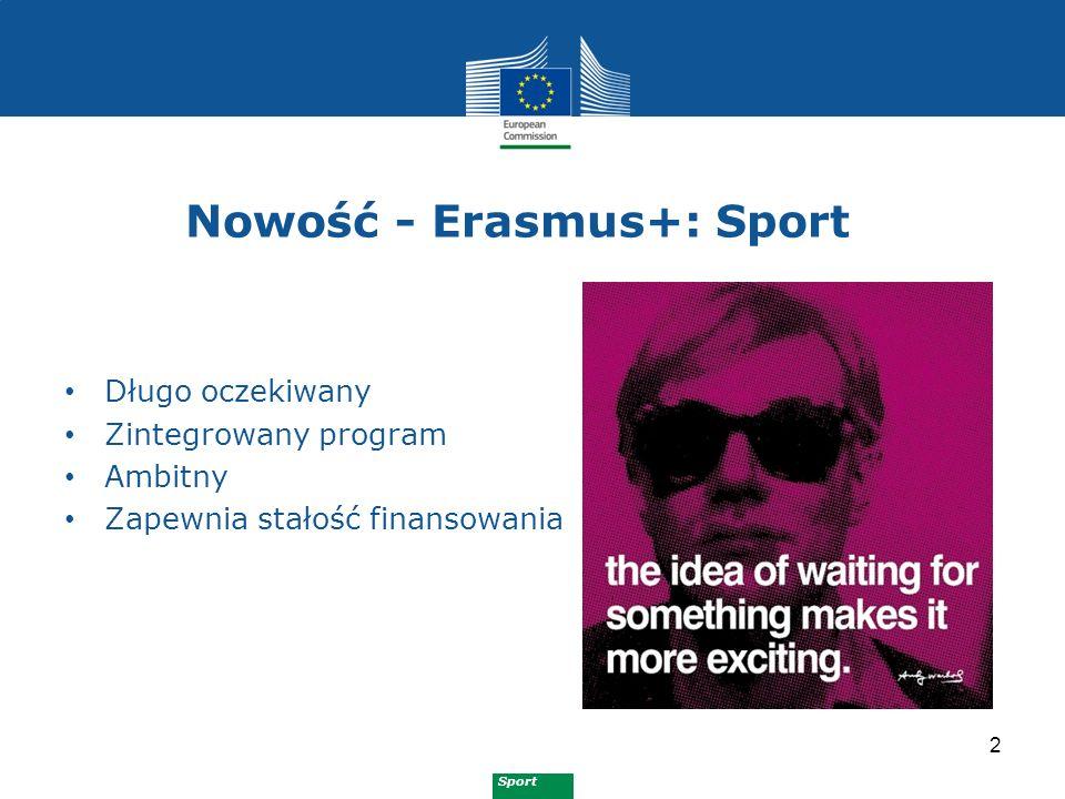 Sport Budżet Erasmus+: Sport 13 Stopniowy wzrost co roku średnio: 38m EUR/rok zaczynając od 22.3m EUR w 2014 nacisk na sport masowy (grassroots sport)