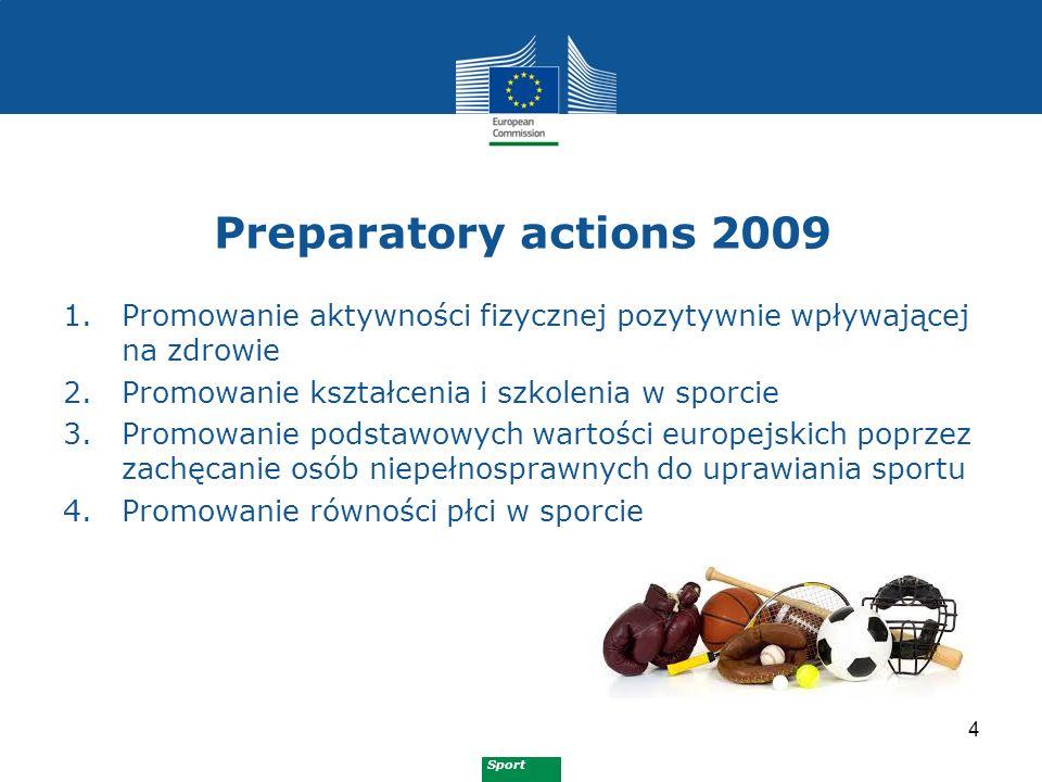 Sport Preparatory actions 2010 5 1.Walka z dopingiem 2.Promowanie włączenia społecznego w sporcie i poprzez sport 3.Promowanie wolontariatu w sporcie