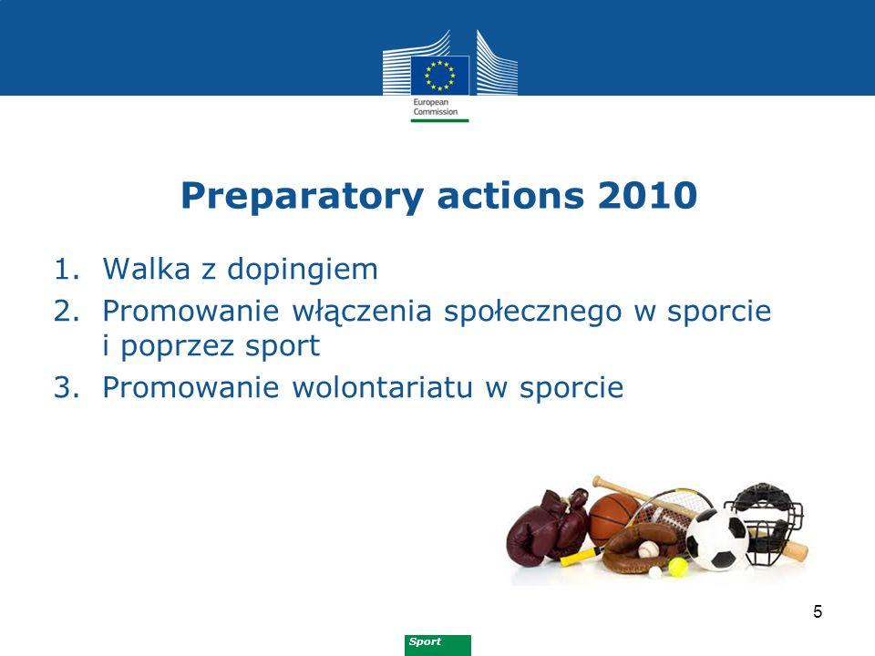 Sport Preparatory actions 2011 6 1.Zapobieganie i zwalczanie przemocy i nietolerancji w sporcie 2.