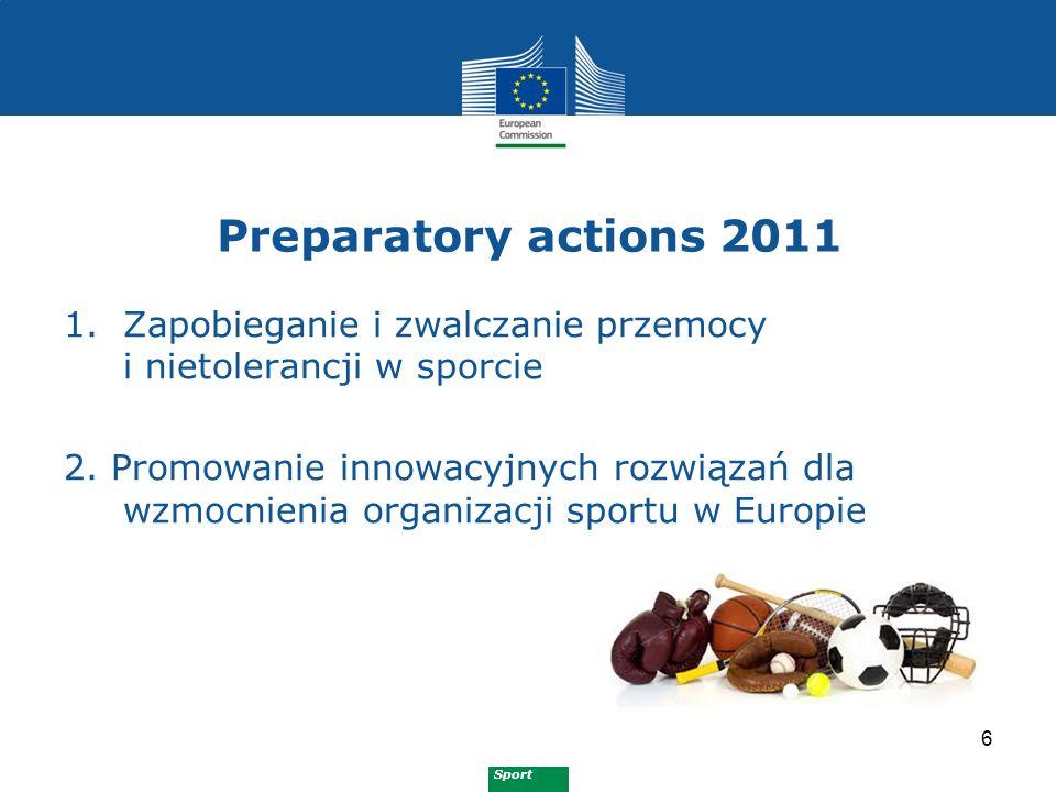Sport Preparatory actions 2012 7 1.Walka z ustawianiem wyników i przebiegu zawodów sportowych 2.
