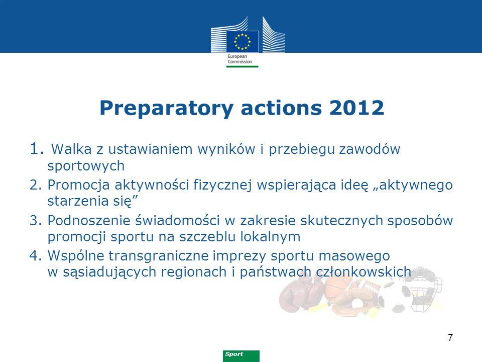 Sport Preparatory actions 2013 8 Wspieranie dobrego zarządzania i dwutorowości kariery w sporcie poprzez mobilność wolontariuszy, trenerów, managerów i personelu Ochrona sportowców, w tym najmłodszych, przed zagrożeniami dla zdrowia i bezpieczeństwa, poprzez poprawę warunków treningu i zawodów Promowanie europejskich tradycyjnych sportów i gier
