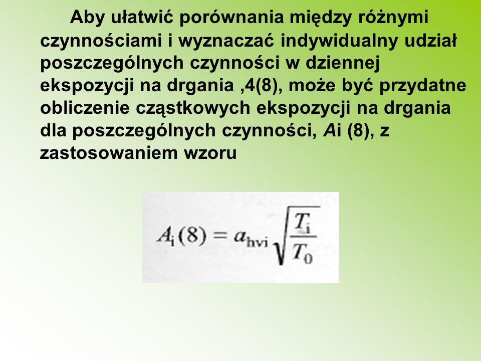 Aby ułatwić porównania między różnymi czynnościami i wyznaczać indywidualny udział poszczególnych czynności w dziennej ekspozycji na drgania,4(8), moż
