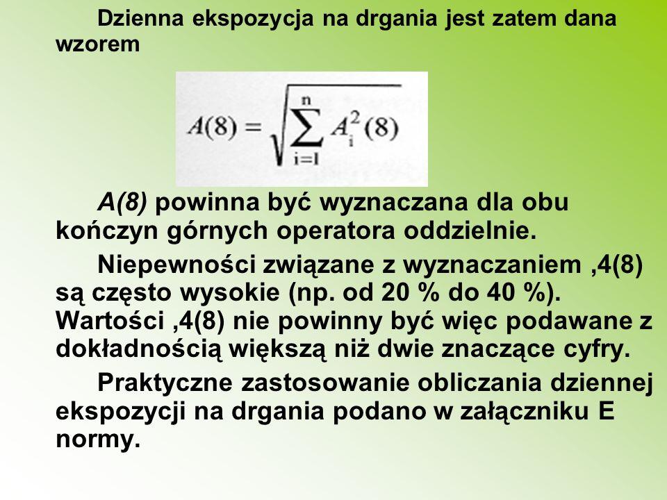 Dzienna ekspozycja na drgania jest zatem dana wzorem A(8) powinna być wyznaczana dla obu kończyn górnych operatora oddzielnie. Niepewności związane z