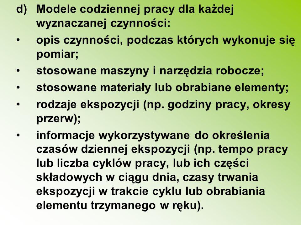 d)Modele codziennej pracy dla każdej wyznaczanej czynności: opis czynności, podczas których wykonuje się pomiar; stosowane maszyny i narzędzia robocze