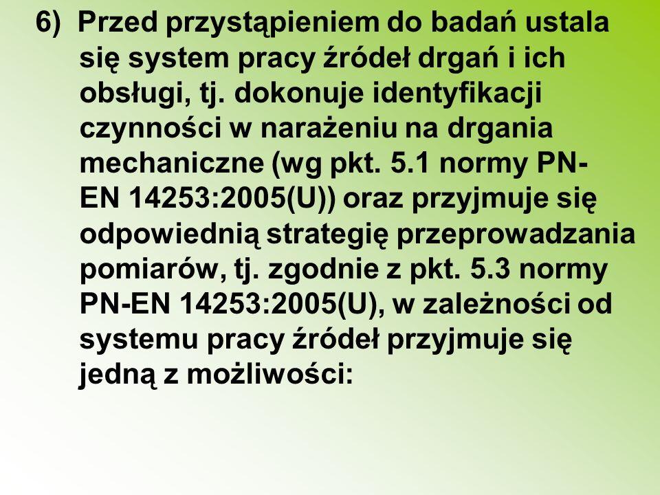 6) Przed przystąpieniem do badań ustala się system pracy źródeł drgań i ich obsługi, tj. dokonuje identyfikacji czynności w narażeniu na drgania mecha