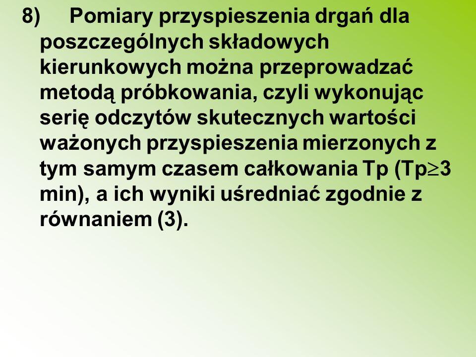 8)Pomiary przyspieszenia drgań dla poszczególnych składowych kierunkowych można przeprowadzać metodą próbkowania, czyli wykonując serię odczytów skute