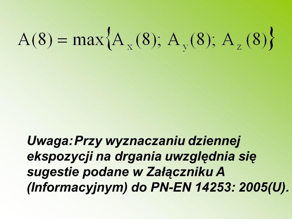 Uwaga:Przy wyznaczaniu dziennej ekspozycji na drgania uwzględnia się sugestie podane w Załączniku A (Informacyjnym) do PN-EN 14253: 2005(U).