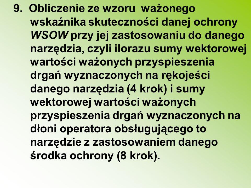 9. Obliczenie ze wzoru ważonego wskaźnika skuteczności danej ochrony WSOW przy jej zastosowaniu do danego narzędzia, czyli ilorazu sumy wektorowej wa