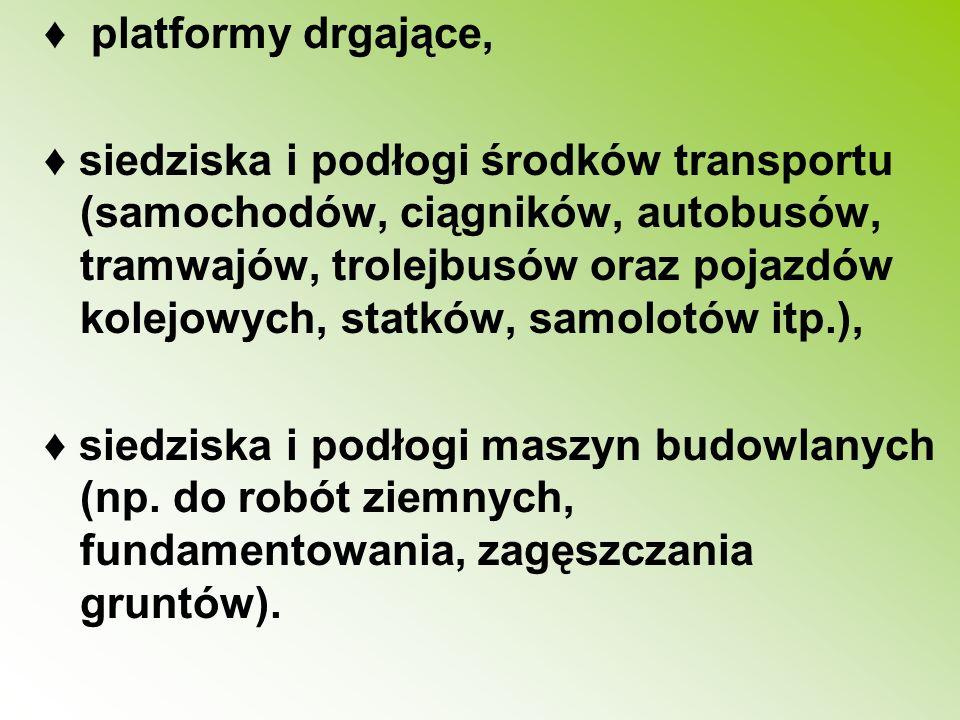 platformy drgające, siedziska i podłogi środków transportu (samochodów, ciągników, autobusów, tramwajów, trolejbusów oraz pojazdów kolejowych, statków