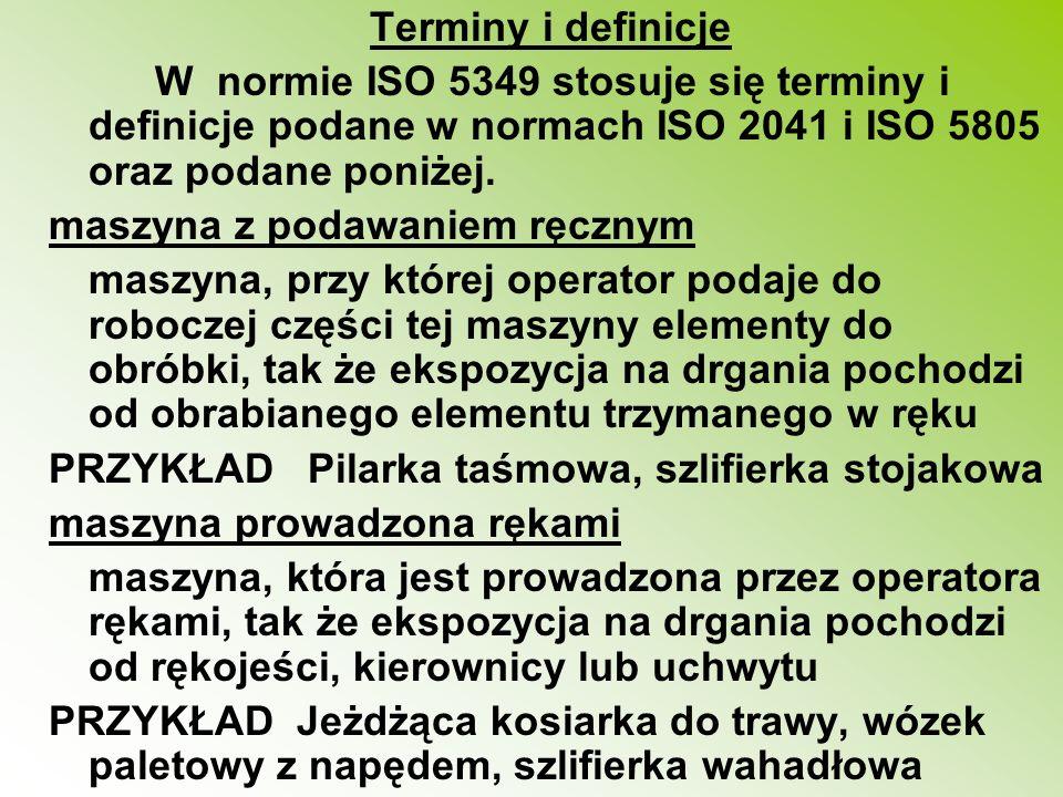 Terminy i definicje W normie ISO 5349 stosuje się terminy i definicje podane w normach ISO 2041 i ISO 5805 oraz podane poniżej. maszyna z podawaniem r