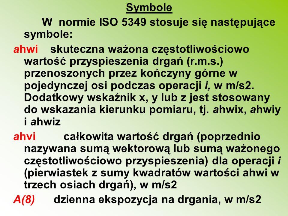 Symbole W normie ISO 5349 stosuje się następujące symbole: ahwi skuteczna ważona częstotliwościowo wartość przyspieszenia drgań (r.m.s.) przenoszonych