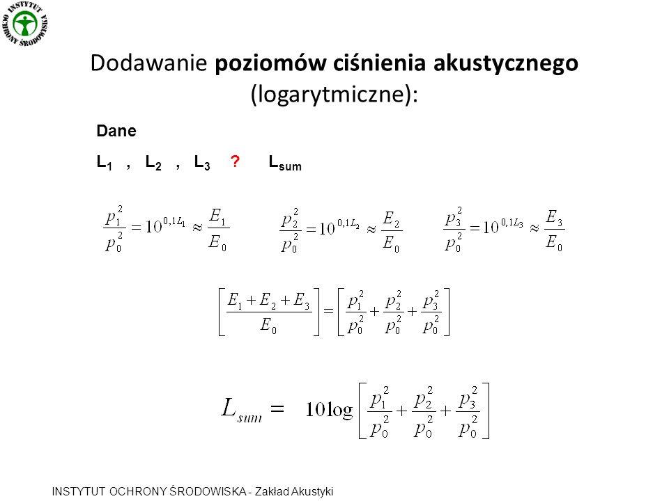 Dodawanie poziomów ciśnienia akustycznego (logarytmiczne): Dane L 1, L 2, L 3 ? L sum INSTYTUT OCHRONY ŚRODOWISKA - Zakład Akustyki