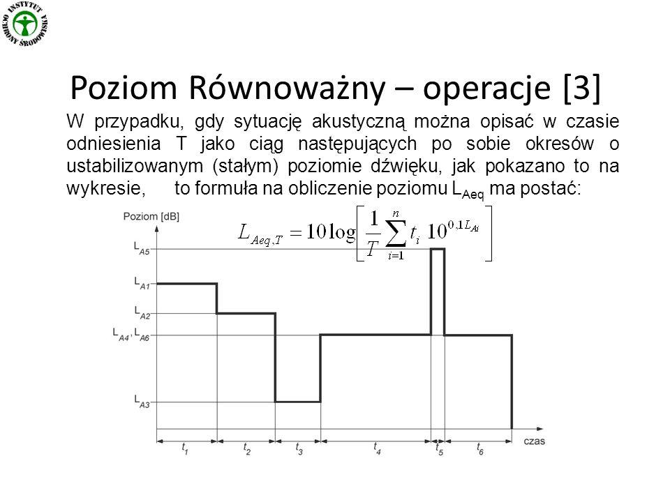 Poziom Równoważny – operacje [3] W przypadku, gdy sytuację akustyczną można opisać w czasie odniesienia T jako ciąg następujących po sobie okresów o ustabilizowanym (stałym) poziomie dźwięku, jak pokazano to na wykresie, to formuła na obliczenie poziomu L Aeq ma postać: