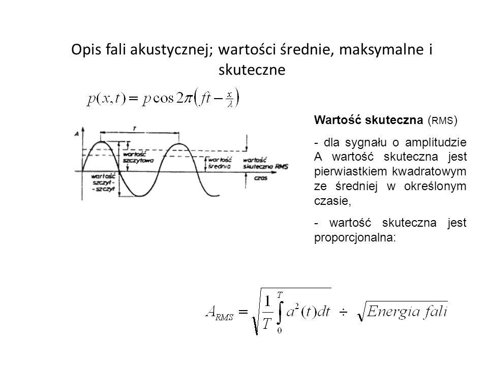 Opis fali akustycznej; wartości średnie, maksymalne i skuteczne Wartość skuteczna ( RMS ) - dla sygnału o amplitudzie A wartość skuteczna jest pierwiastkiem kwadratowym ze średniej w określonym czasie, - wartość skuteczna jest proporcjonalna: