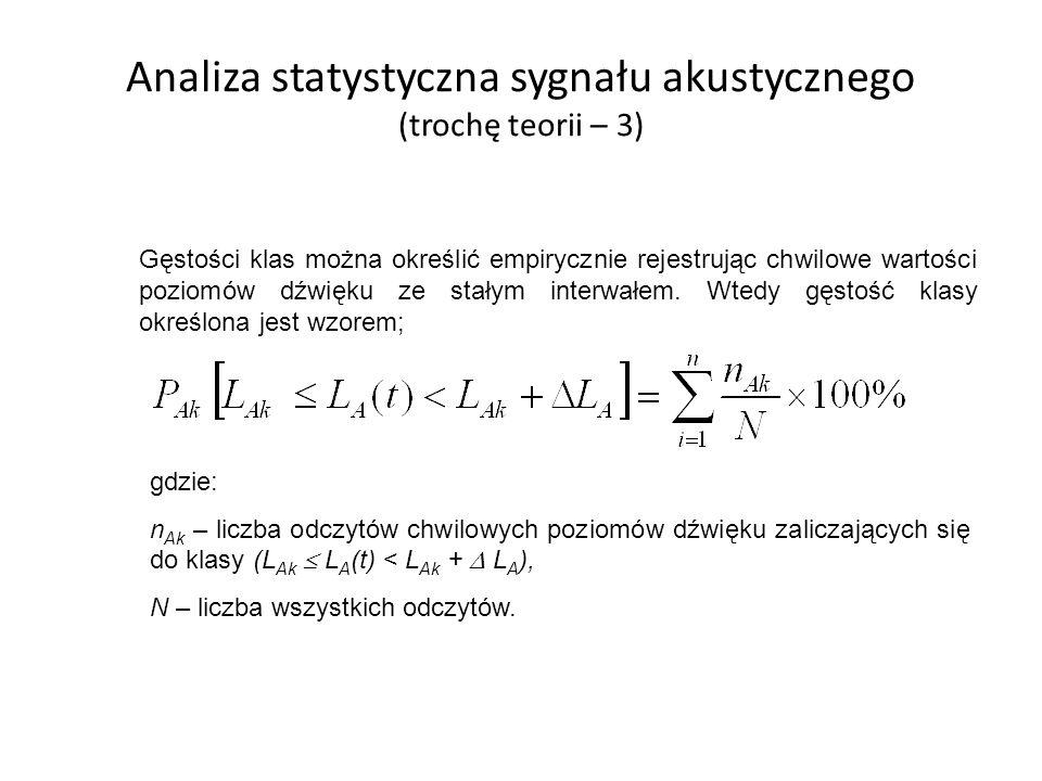 Analiza statystyczna sygnału akustycznego (trochę teorii – 3) Gęstości klas można określić empirycznie rejestrując chwilowe wartości poziomów dźwięku