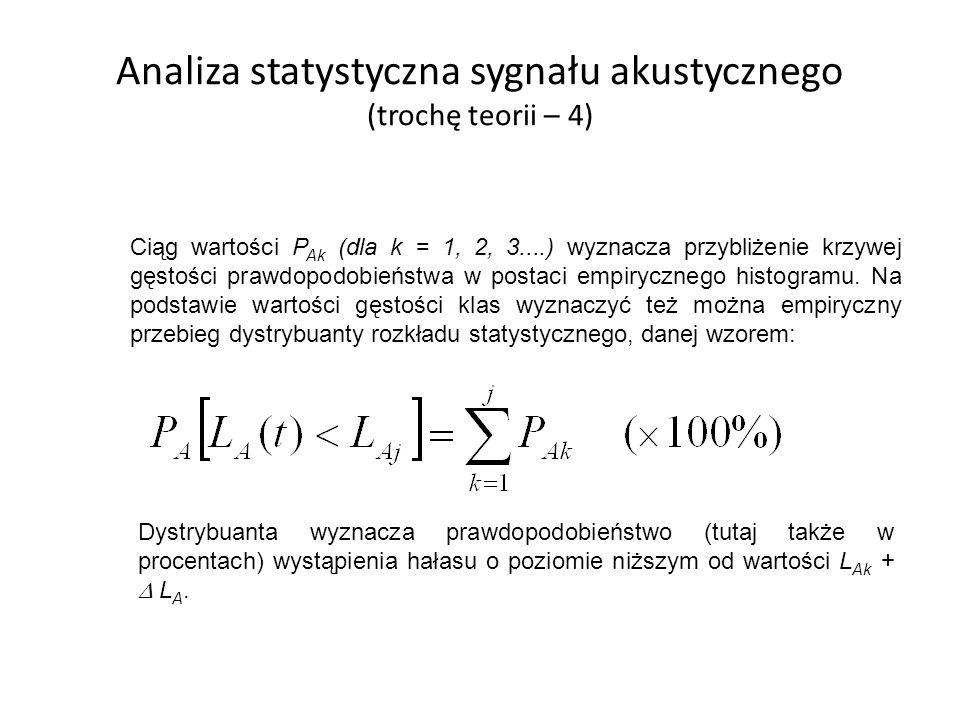 Analiza statystyczna sygnału akustycznego (trochę teorii – 4) Ciąg wartości P Ak (dla k = 1, 2, 3....) wyznacza przybliżenie krzywej gęstości prawdopo