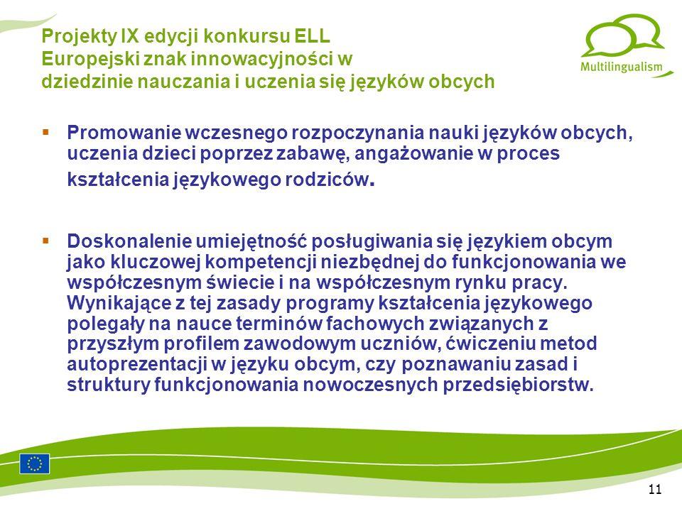 11 Projekty IX edycji konkursu ELL Europejski znak innowacyjności w dziedzinie nauczania i uczenia się języków obcych Promowanie wczesnego rozpoczynania nauki języków obcych, uczenia dzieci poprzez zabawę, angażowanie w proces kształcenia językowego rodziców.