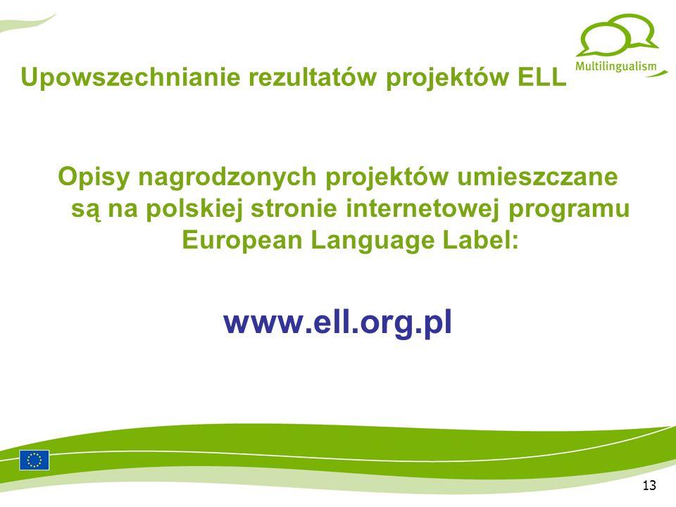 13 Upowszechnianie rezultatów projektów ELL Opisy nagrodzonych projektów umieszczane są na polskiej stronie internetowej programu European Language Label: www.ell.org.pl
