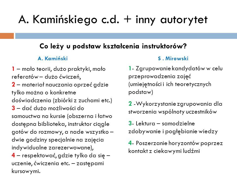 A. Kamińskiego c.d. + inny autorytet 1 – mało teorii, dużo praktyki, mało referatów – dużo ćwiczeń, 2 – materiał nauczania oprzeć gdzie tylko można o